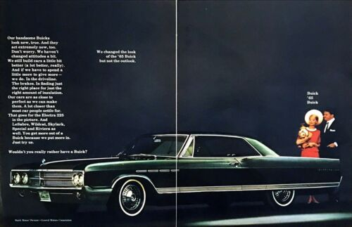 """1965 Buick Electra 225 2-door Sedan photo """"We Changed the Look"""" 2-page print ad"""
