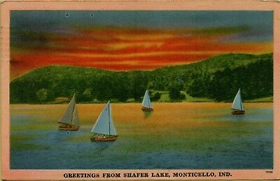 1956 Greetings From Shafer Lake Sailboats Monticello Indiana IN Postcard B33