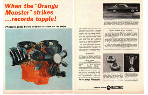 1964 PLYMOUTH SUPER STOCK 426-III ENGINE / 415 0R 425 HP ~ ORIG 2-PAGE PRINT AD