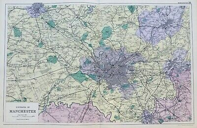 OLD ORDNANCE SURVEY MAP LEVENSHULME 1905 MANCHESTER SLADE LANE BROOM LANE END