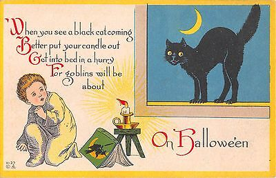 1914 Boy with Story Book Witch Black Cat & Crecsent Moon Halloween postcard - History Witches Halloween