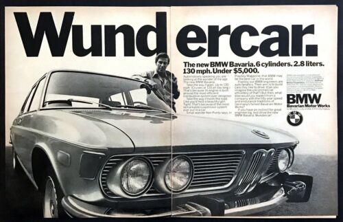 "1971 BMW Bavaria Sedan photo ""130 mph Wundercar""  2-page vintage print ad"