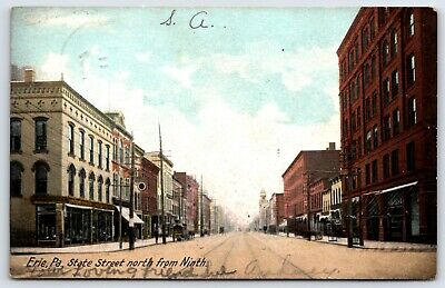 Postcard Erie Pa. State Street North From Ninth Street View  Stores (Erie Pa Stores)