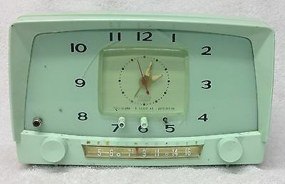 Vintage RARE 1950s WESTINGHOUSE Model H-549T5 GREEN Tube AM Clock Radio - Works