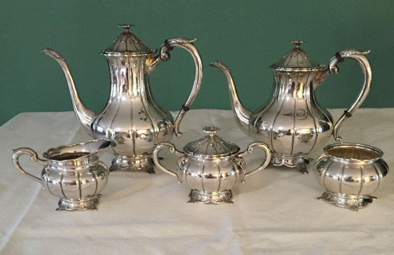 Vintage 5 piece 950 Sterling Silver Service, Mint Condition