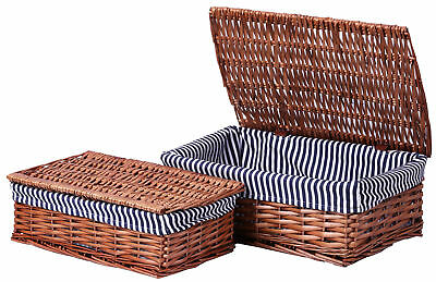 New Vintiquewise Lined Wicker Storage Shelf Baskets With Lid, -