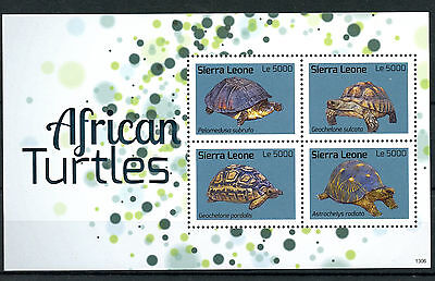 SIERRA LEONE 2013 MNH AFRICAN TURTLES 4V M/S REPTILES TURTLE STAMPS