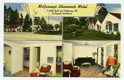 """Used, MT Montana Kalispell """"McGarvey's Shamrock Motel"""" US Hwy 2 Multiview Linen Posted for sale  Red Lodge"""