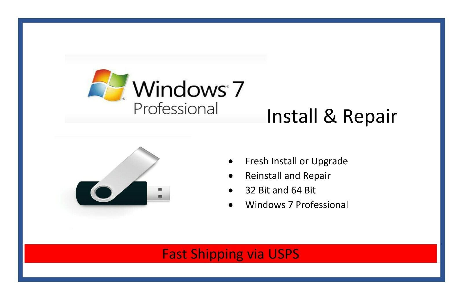 Recovery USB for Windows 7 Professional Restore Reinstall PC Laptop 32/64 Bit
