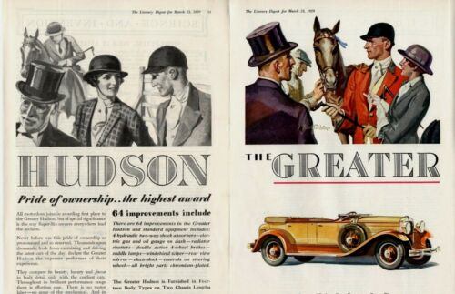 1929 2 PAGE ORIGINAL VINTAGE HUDSON CAR MAGAZINE AD