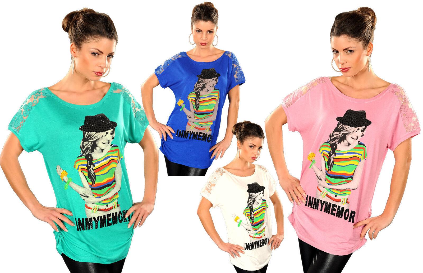 top donna t shirt maglia maglietta manica corta stampa e strass colorati tg uni