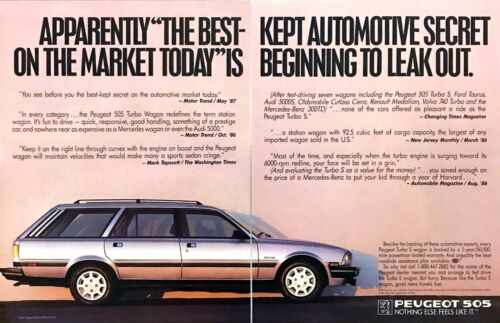1988 Peugeot 505 Turbo S Station Wagon photo Expert Agree 2-page promo print ad