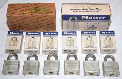 6 New Old Stock Identically Keyed Alike Master Lock Secret Service Padlocks