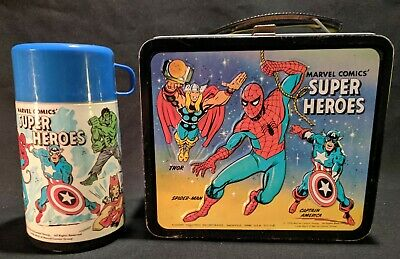 1976 Marvel Super Heroes Aladdin Metal Lunch Box & Thermos Spider-Man Thor Hulk