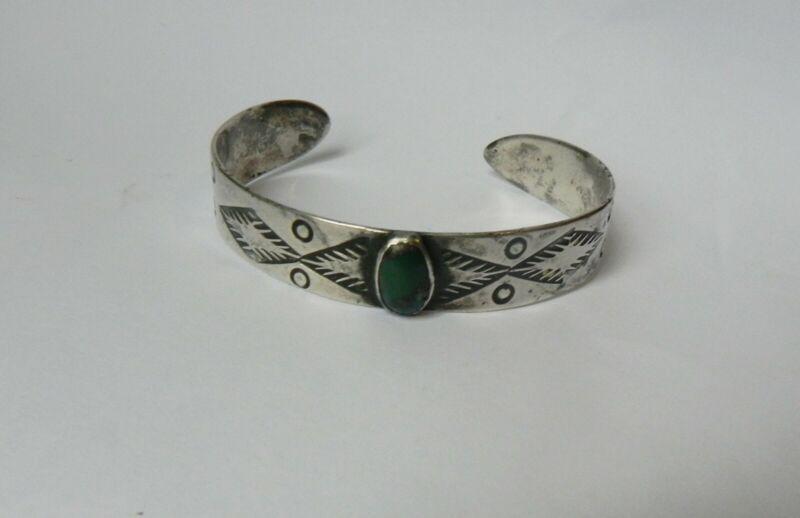 ANTIQUE Navajo Silver & Dark Green natural Turquoise Thunderbird Cuff Bracelet.