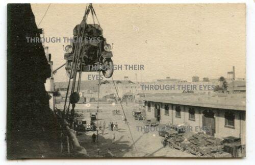 Original WWI photo RNAS Rolls Royce Armoured car movedfrom ship Alexandria 1916