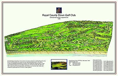 "ROYAL COUNTY DOWN  - Vintage Golf Course Maps print (30"" x 19"")"