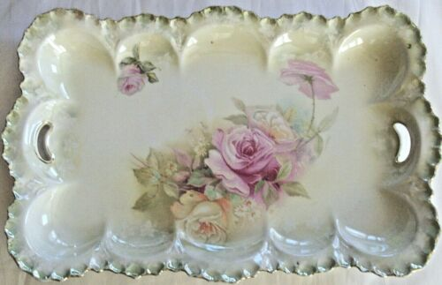 """RS Prussia Red Mark 12"""" Open Handled Floral Serving Dresser Tray - No Damage"""