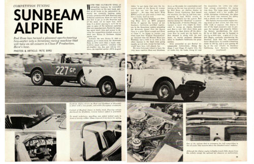 1962 SUNBEAM ALPINE COMPETITION TUNING ~ ORIGINAL 5-PAGE ARTICLE / AD