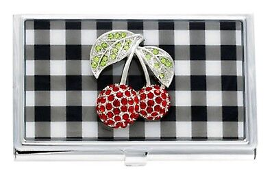 Spring Street Cherries Picnic Perfect Metal Card Holder with Crystals