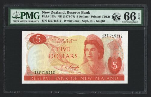 New Zealand: 5 Dollars 1975-1977. (P-165c). PMG: Gem Uncirculated 66 EPQ.