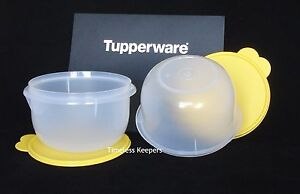 FREE SHIP Tupperware Mixing Bowl 8 Cup /2 Liter Set 2 Prep Mix NEW White/Yellow