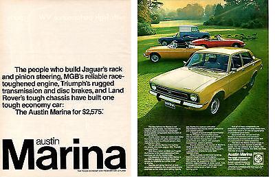 1973 AUSTIN MARINA W/JAGUAR - TRIUMPH - MG - LAND ROVER ~ ORIGINAL 2-PG PRINT AD
