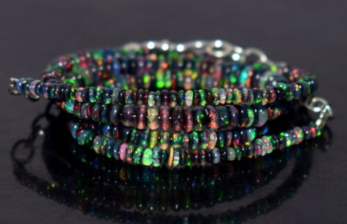 """A+++ Natural Ethiopian Black Opal Fire Opal Gemstone Beads 16""""Necklace AG#47"""