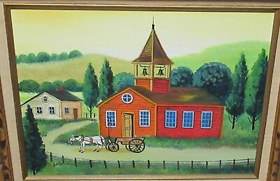 S.SOTO HORSE AND RED BARN ORIGINAL OIL ON CANVAS LANDSCAPE PAINTING