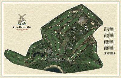 e538e727fb1 Oyster Harbors Club 1927 Donald Ross Vintage Golf Course Maps print