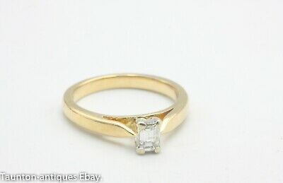 18ct yellow gold .25 1/4ct baguette diamond solitaire setting ring size: J