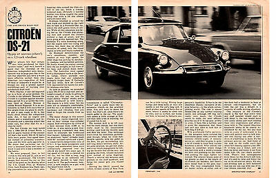 1966 CITROEN DS-21 ~ ORIGINAL 3-PAGE ROAD TEST / ARTICLE / AD