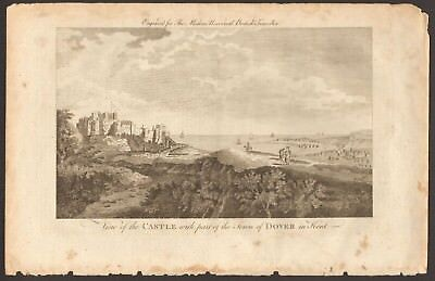 1779 ca ANTIQUE PRINT- KENT - VIEW OF THE CASTLE WITH PART OF THE TOWN OF DOVER