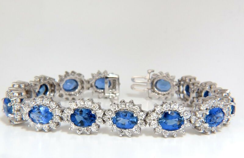 18kt 28.50ct Natural Sapphires Diamonds Bracelet Cluster Halo Linked+