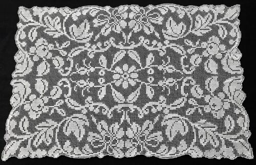 """Ten Italian Dinner White Lace Placemats Net Darning Embroidery 16 1/2x 10 3/4"""""""