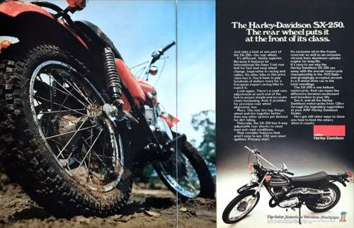 """1976 Harley-Davidson SX-250 Motorcycle photo """"Beats the Others"""" 2-page print ad"""