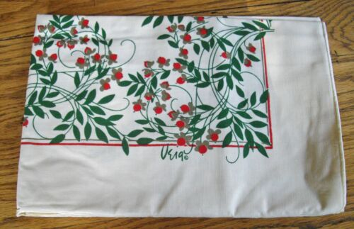 """VERA Brittany Christmas Holiday Red Berries Green Leaves Tablecloth ~ 52"""" x 52"""""""