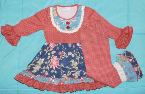 NWOT GIRLS RED & BLUE YOKE FLORAL TUNIC & MATCHING PANTS 3-4 or 6-7 years