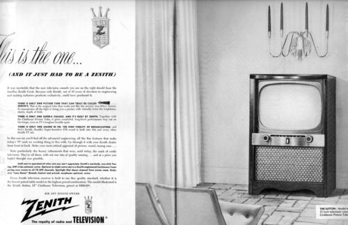 1954 2 PAGE ORIGINAL VINTAGE ZENITH TELEVISION MAGAZINE AD