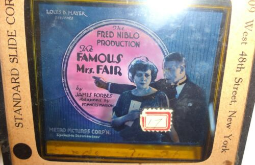 """1923 Glass Slide  """"The Famous Mrs. Fair"""" Silent Movie Film"""