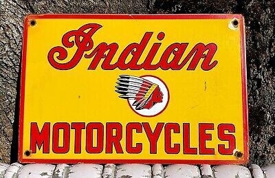 VINTAGE INDIAN MOTORCYCLES PORCELAIN SIGN CHIEF DEALERSHIP PARTS GAS OIL HARLEY