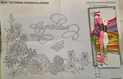 797 Anchor Kit - Victorian Congratulations Embroidery Sampler Kit with Anchor threads