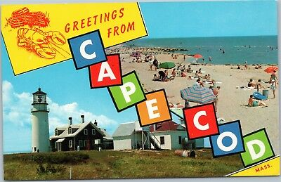 Greetings from Cape Cod - Lighthouse and Beach, block letters ()