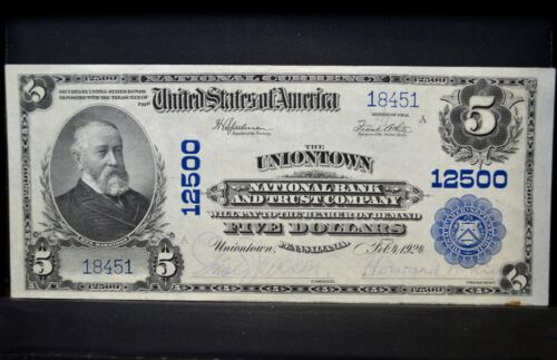 1902 $5 NATIONAL BANK NOTE ✪ UNIONTOWN NTL BANK TRUST ✪ PA CH-AU 12500 ◢TRUSTED◣