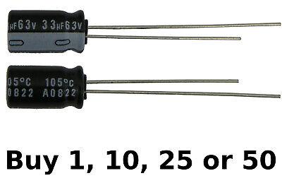Nichicon 33uf 33ufd 63v Volt 105 Degree Hi Temp Radial Electrolytic Capacitor