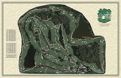 5bec0f97bd1 Hole in the Wall 1957 Dick Wilson Vintage Golf Course Maps print