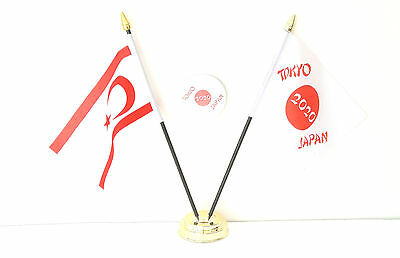 Cyprus North & Tokyo Japan Olympics 2020 Desk Flags & 59mm BadgeSet
