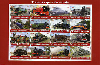 Congo 2017 CTO Steam Trains Engines of World 16v M/S Railways Rail Stamps