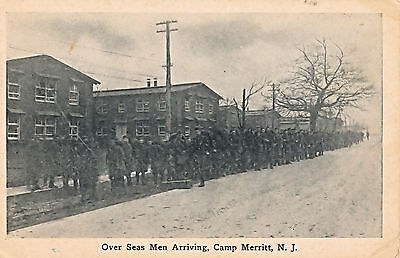 "c1915 World War One WWI ""Over Seas Men Arriving, Camp Merritt, NJ"" Postcard"