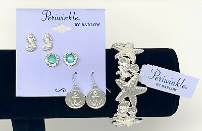 Periwinkle Coastal Nautical Beach Jewelry - Bracelet and Earrings Set - Nautical Jewelry